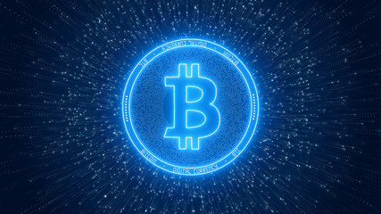 Illustration of a Bitcoin in glowing blue on a particle background