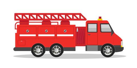 Firefighter red truck flat vector illustration