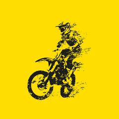 Estores personalizados de deportes con tu foto Motocross rider on his bike, abstract grunge vector silhouette