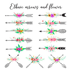 Photo sur Aluminium Style Boho Ethnic arrows and flower. Feathers and flowers boho style. Vector illustration.