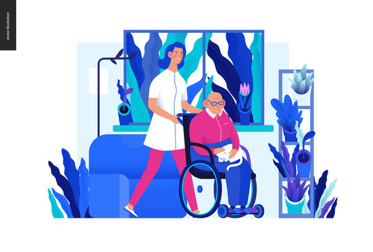 Medical insurance - senior home support - modern flat vector concept digital illustration -a nurse rolling a wheel chair with a senior patient at his home. Home medical service, part of insurance plan