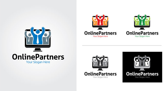 Online partners creative and minimal logo template