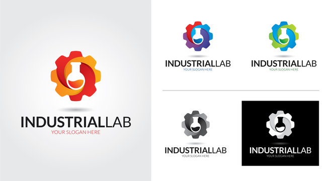 Industrial lab creative and minimal logo template