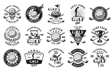 Big set of fifteen golf vector monochrome emblems