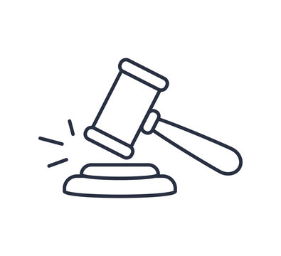 Gavel icon vector. Symbol for web site Computer and mobile vector. Judge logo on a white background. Hammer law concept.