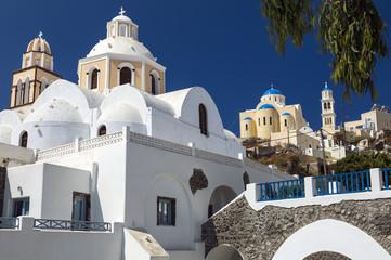 Fira, orthodox churches, Santorini, Greece.