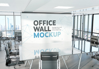 Display Wall in Conference Room Mockup