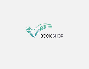Creative Abstract linear logo icon open book in the form of an arrow with pages for a bookstore or club