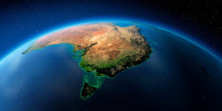 Highly detailed Earth. Australia and Tasmania