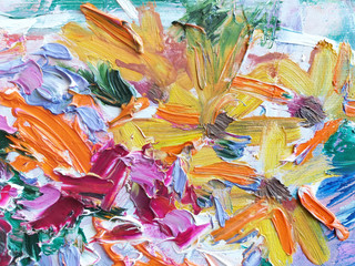 Foto op Plexiglas Paradijsvogel Abstract expressive striking colorful oil painted texture.