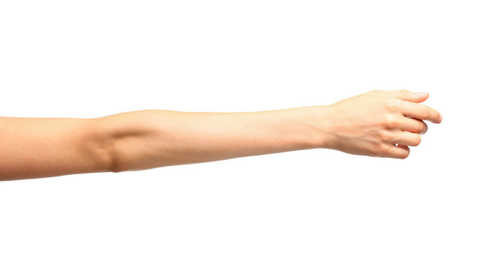 Young woman holding hand on white background, closeup