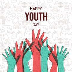 Wall Mural - Youth Day card of diversity teen hand group