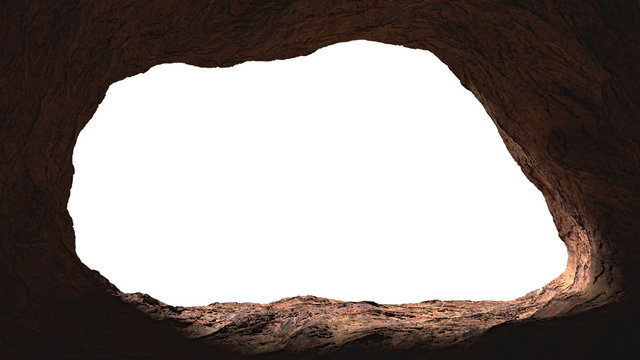 cave opening, mysterious den entrance in bright light