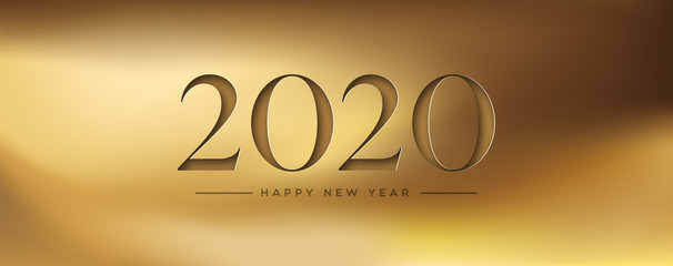 Wall Mural - Happy New Year 2020 gold papercut web banner