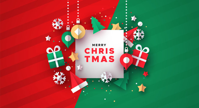 Christmas card of 3d paper holiday decoration
