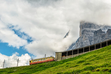 Switzerland Alpine Train with Eiger in Background - on the Way to Jungfrau