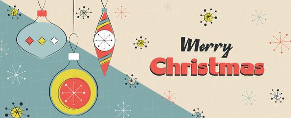 Merry Christmas retro mid century pine tree banner Fotomurales