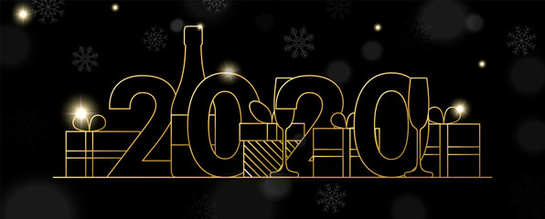 Wall Mural - New Year 2020 banner of gold line party decoration