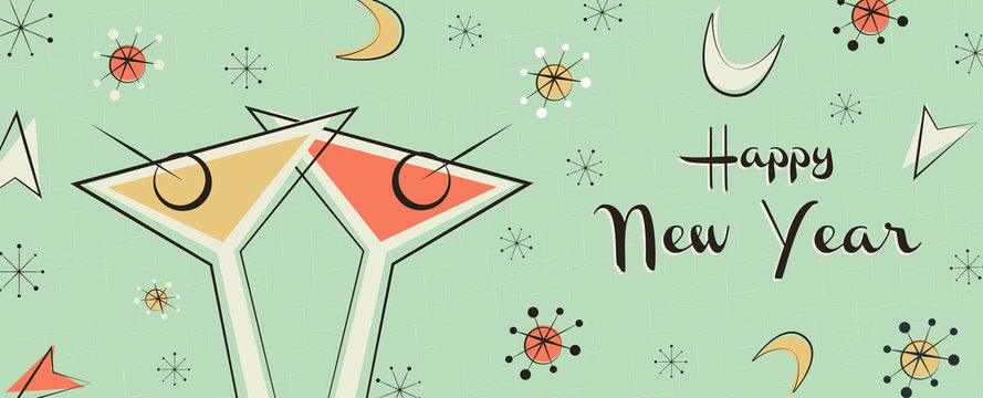 New Year banner of vintage mid century party drink