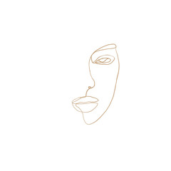 Foto op Aluminium One Line Art Continuous line, drawing of woman face with earring , fashion concept, woman beauty minimalist, vector illustration for t-shirt, slogan design print graphics style. One line fashion illustration