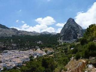 The village of Grazalema and the Penon Grande, Sierra de Grazalema, Spain