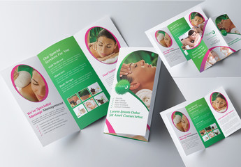 Tri-Fold Brochure Layout with Green and Pink Elements