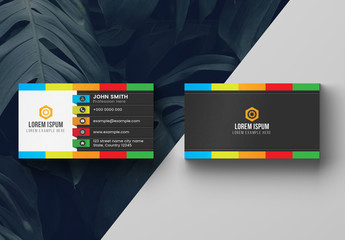 Colorful Dark Business Card Layout