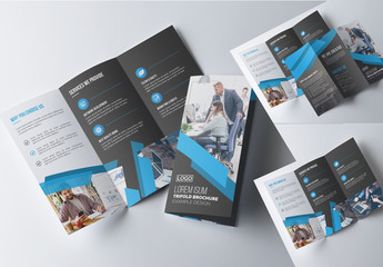 Blue and Charcoal Tri-Fold Brochure Layout