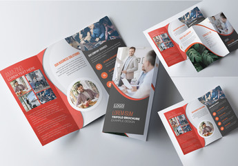 Corporate Tri-Fold Brochure Layout with Red Accents