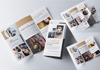 Tri-Fold Brochure Layout with Gold Accents