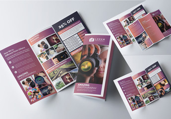 Tri-Fold Brochure Layout with Mauve Gradient Accents
