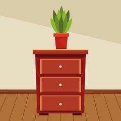 Fototapeta Wooden drawer with plant pot obraz