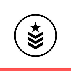 Military rank vector icon, army badge symbol. Simple, flat design isolated on white background for web or mobile app