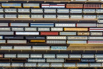 Aerial view of rail cars waiting at a staging railyard station in Aurora, IL - USA