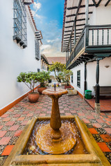 Fototapete - stylish patio courtyard in La Candelaria aera Bogota capital city of Colombia South America