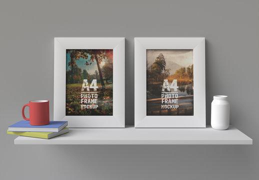Vertical Frame on a Shelf Mockup