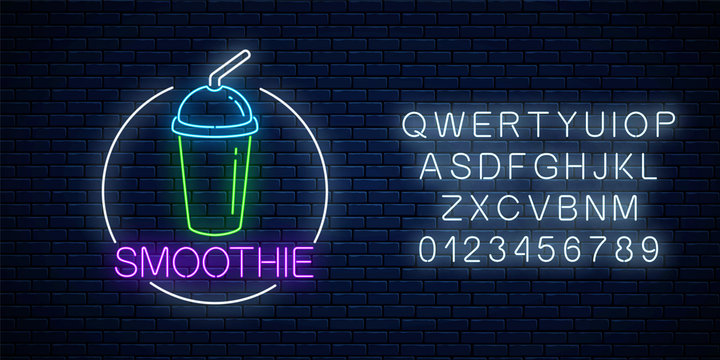Neon glowing sign of smoothie in circle frame with alphabet. Fastfood light billboard symbol. Cafe menu item.