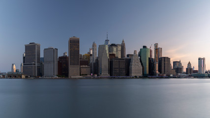 Panoramic view from Hudson River at sunset on Financial District