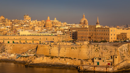 Valletta from the Ship. Exposure of Valletta, Malta, taken at Sunrise from a ship while arriving at this beautiful fortified city.