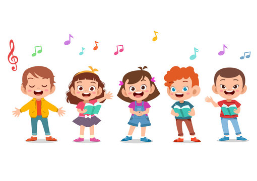Cartoon group of children singing in the school choir