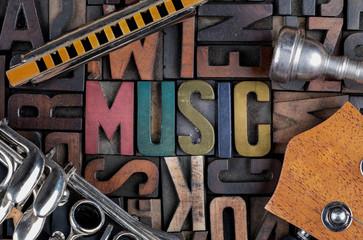 music word in letterpress printing blocks