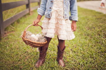 Midsection of girl holding basket of eggs