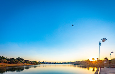 Sao Jose do Rio Preto City. View of lake park at sunset