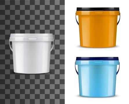 Bucket mockups. White, orange, blue pails and lids