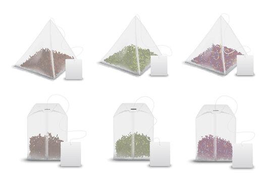 Tea bag pyramids, teabag tags realistic mockups