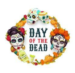 Day of Dead Mexican catrina calavera woman skull
