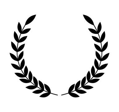 Laurel wreath of black color. Vector illustration