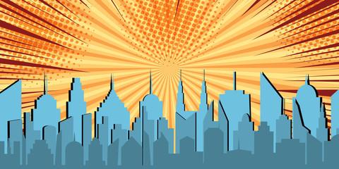 Comic light cityscape concept