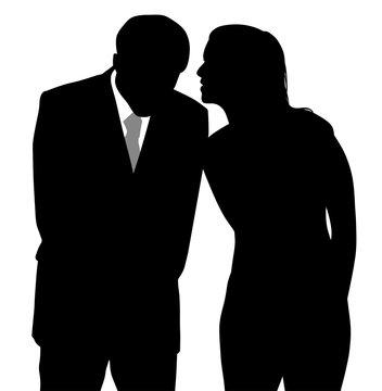 Man and woman discreet conversation