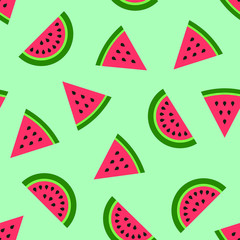 Seamless background with green watermelon slices